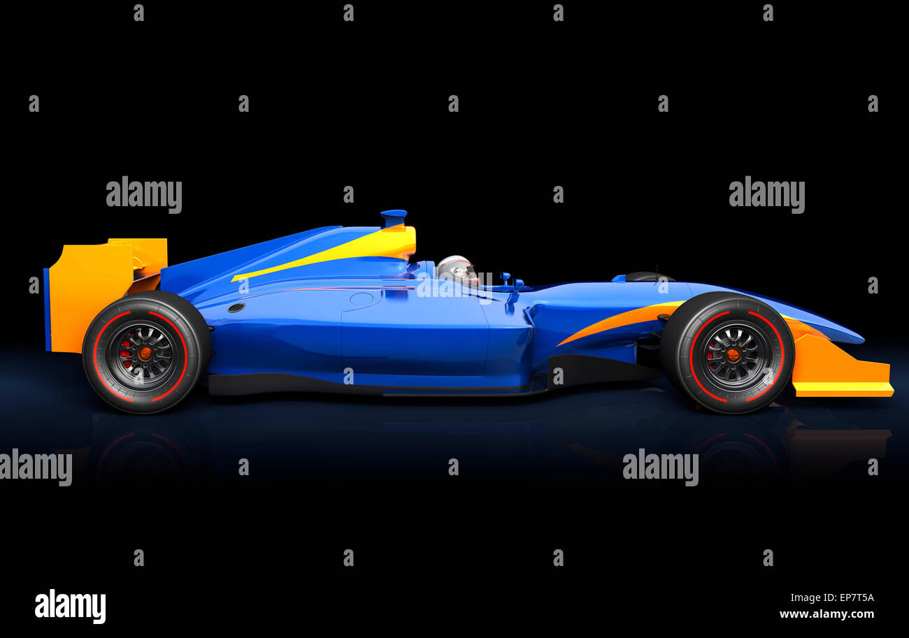 generic blue race car on the black background - stock image