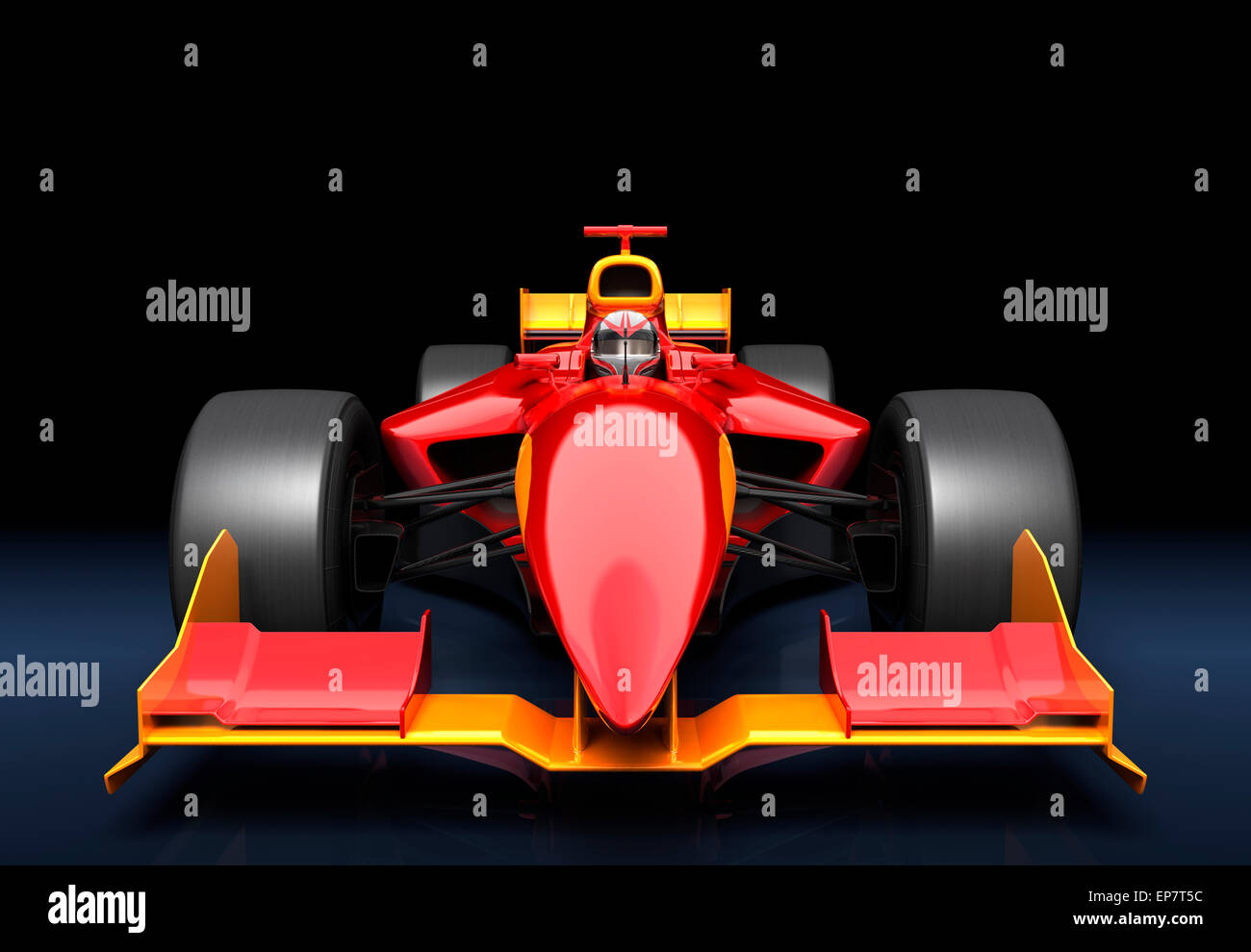 Generic red race car on the black background - Stock Image