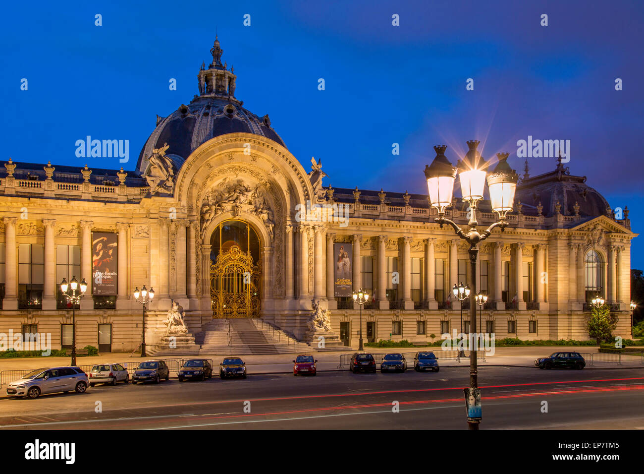 Twilight at Petite Palais, Paris France - Stock Image