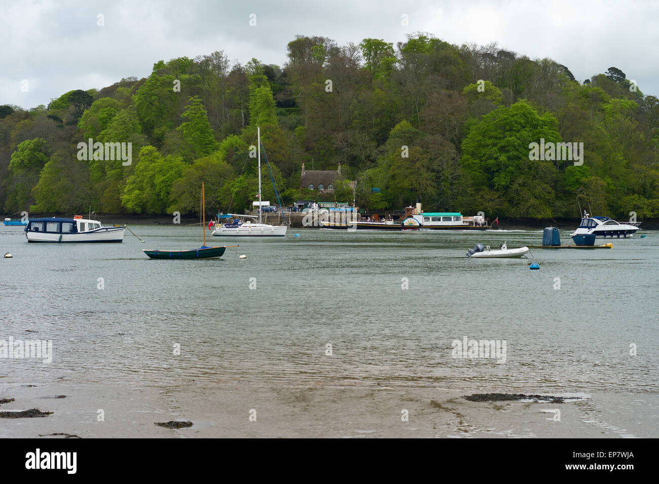 The Greenway ferry crossing point on the River Dart estuary at Dittisham, Devon, UK Stock Photo