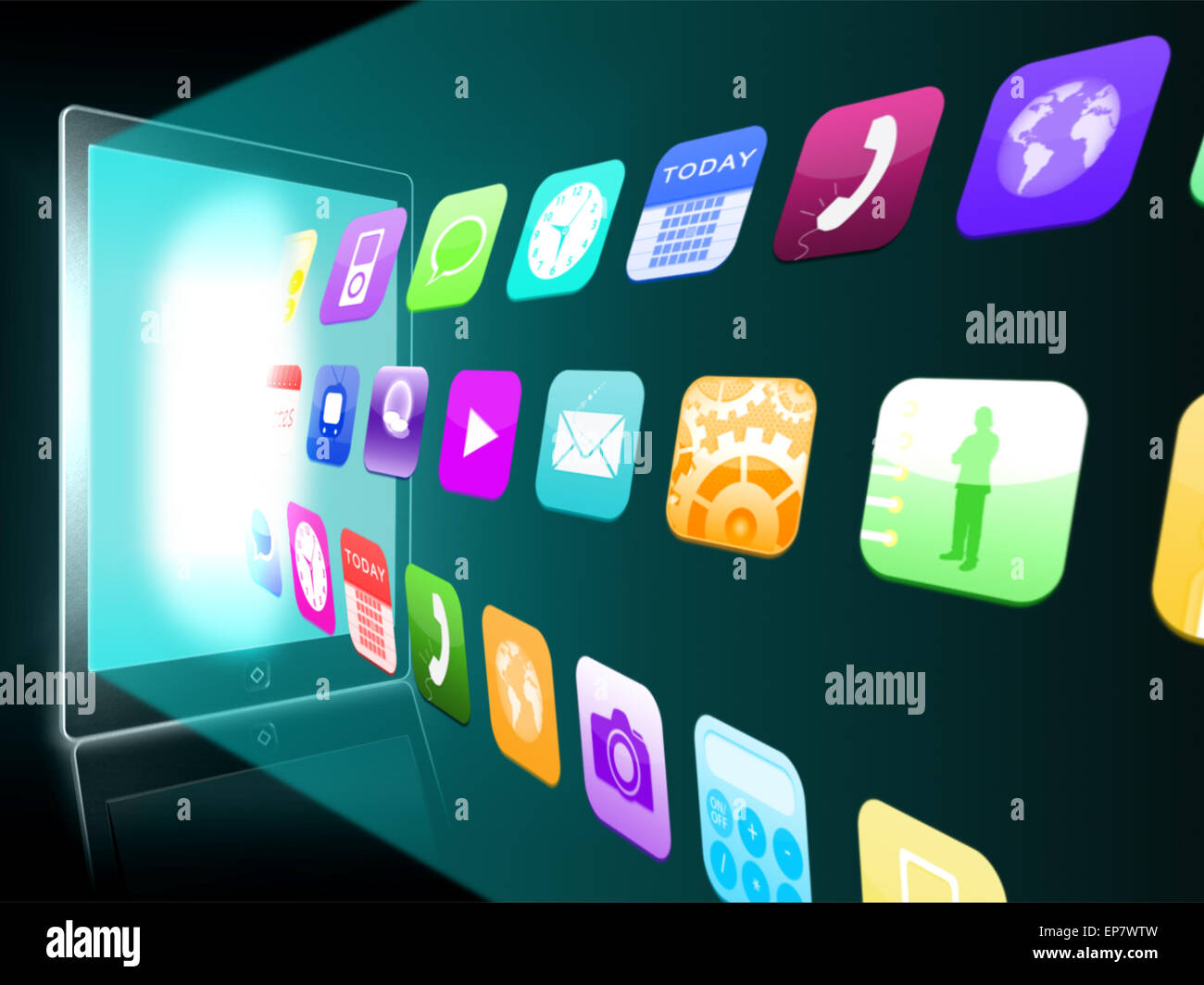 Holographic applications coming out from a tablet pc Stock Photo