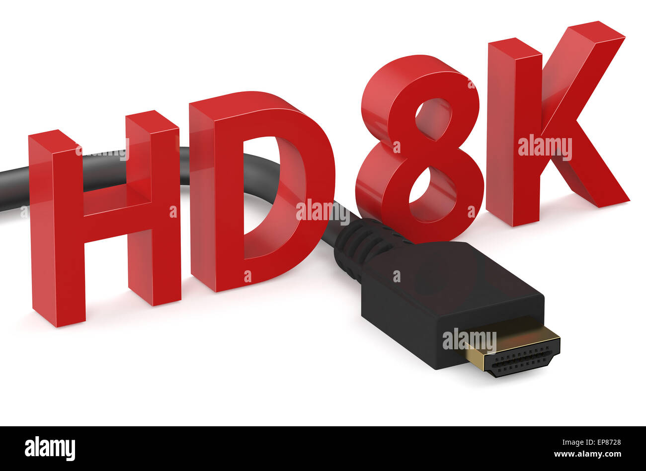 HD 8K concept  isolated on white background - Stock Image