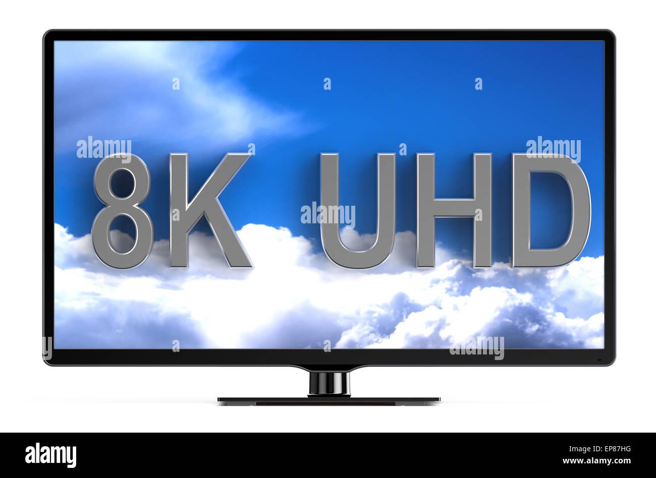television set with 8K UHD isolated on white background - Stock Image