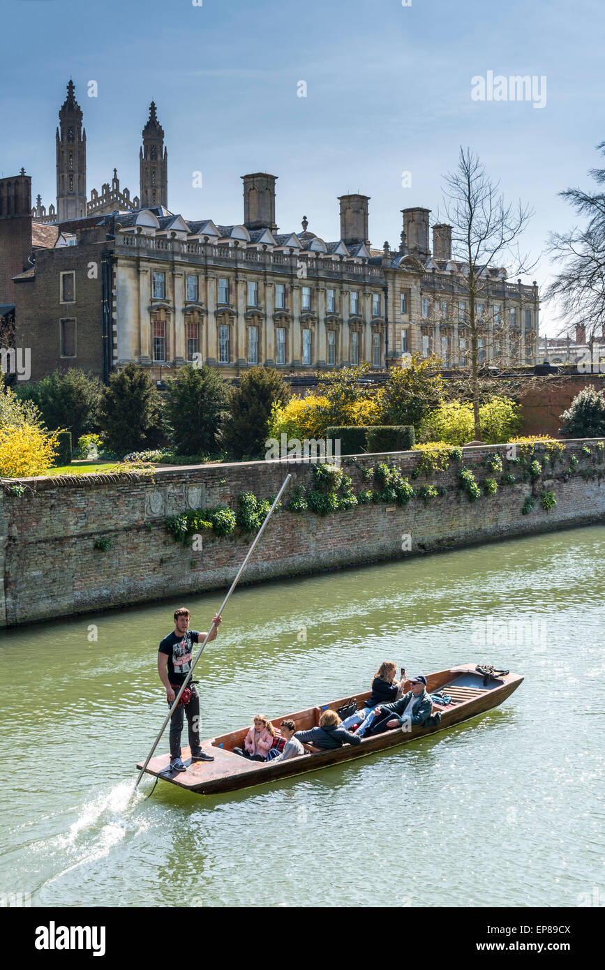 Punting on the River Cam in Cambridge England takes in the famous Backs of the University Colleges, here, Clare - Stock Image