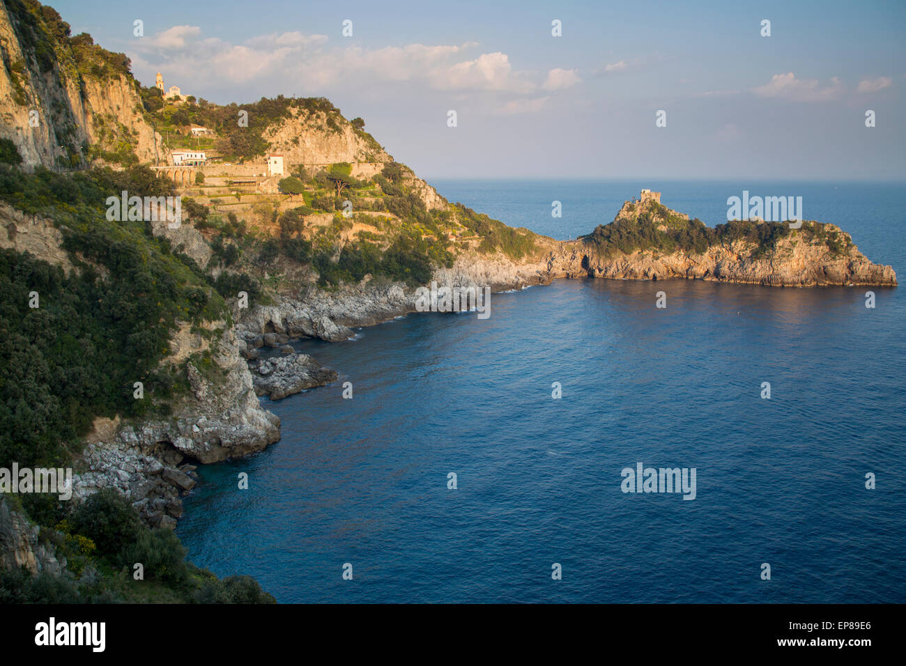Torre del Capo Conca Tower or Saracen or White Tower - a 16th century watchtower along the Amalfi Coast near Praiano, - Stock Image