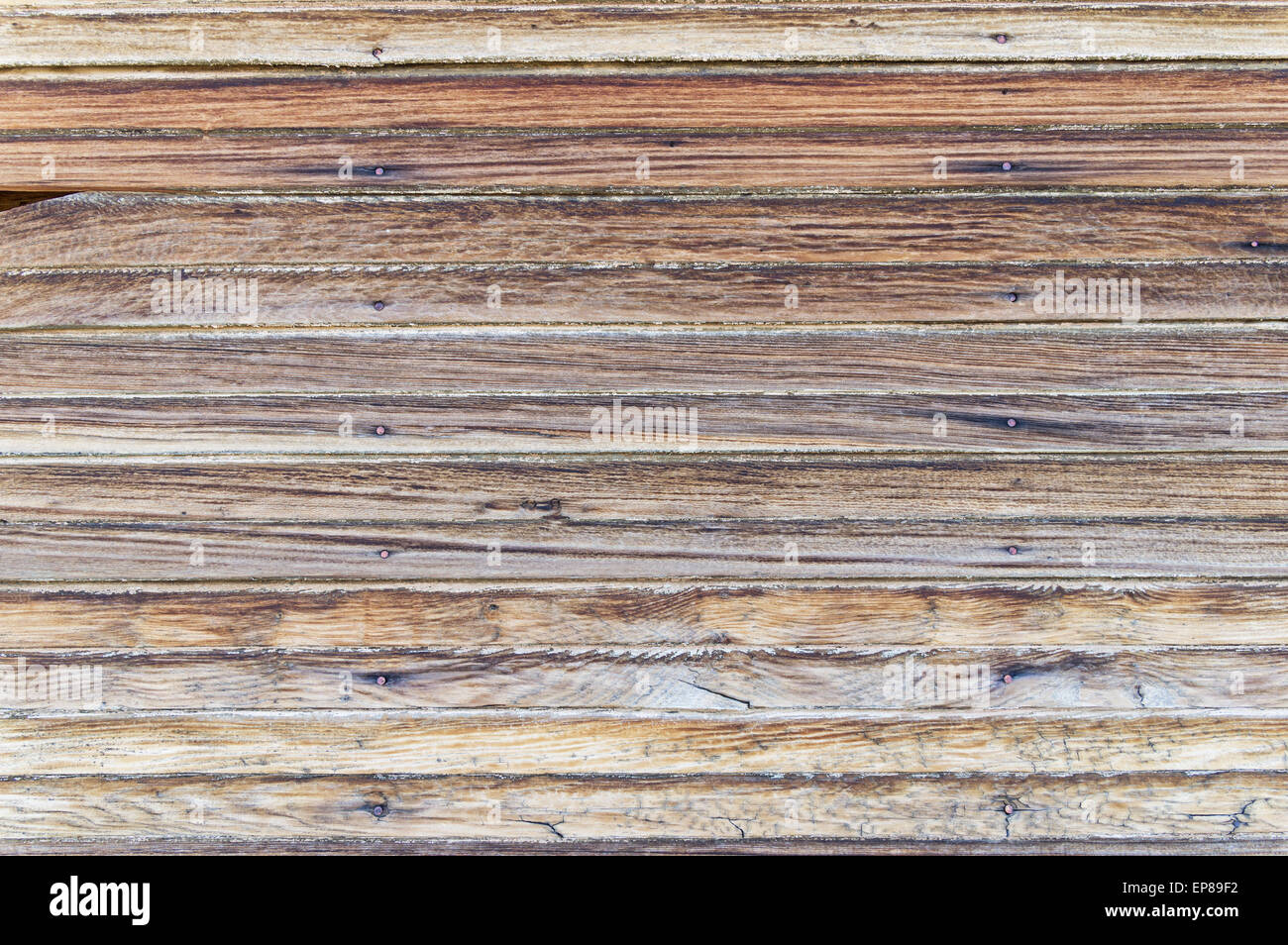 old weathered wood wall background texture from a ghost town building - Stock Image