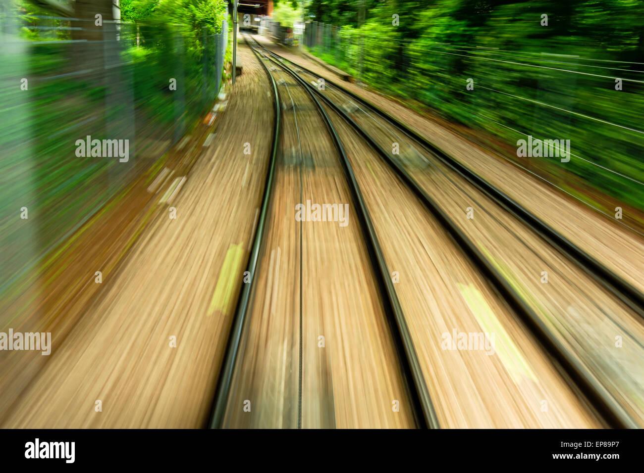 May 2015, rail track in Zurich (Switzerland), motion blur Stock Photo