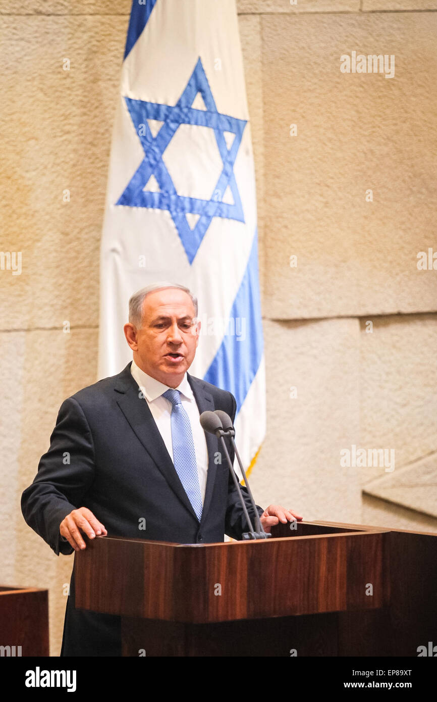 (150514) -- JERUSALEM, May 14, 2015 (Xinhua) -- Israeli Prime Minister Benjamin Netanyahu makes a speech before - Stock Image