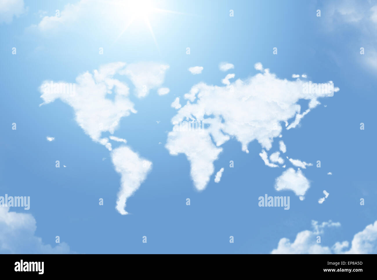 Fluffy cloud in the shape of the world map - Stock Image
