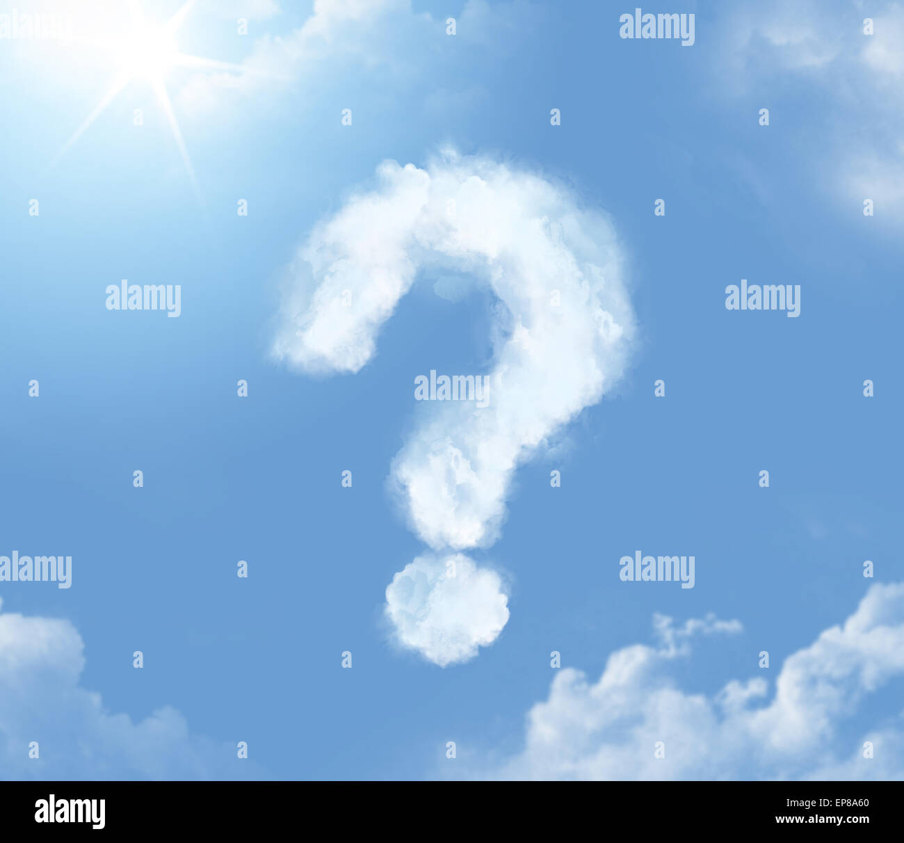 Flossy cloudlet in the form of question mark - Stock Image