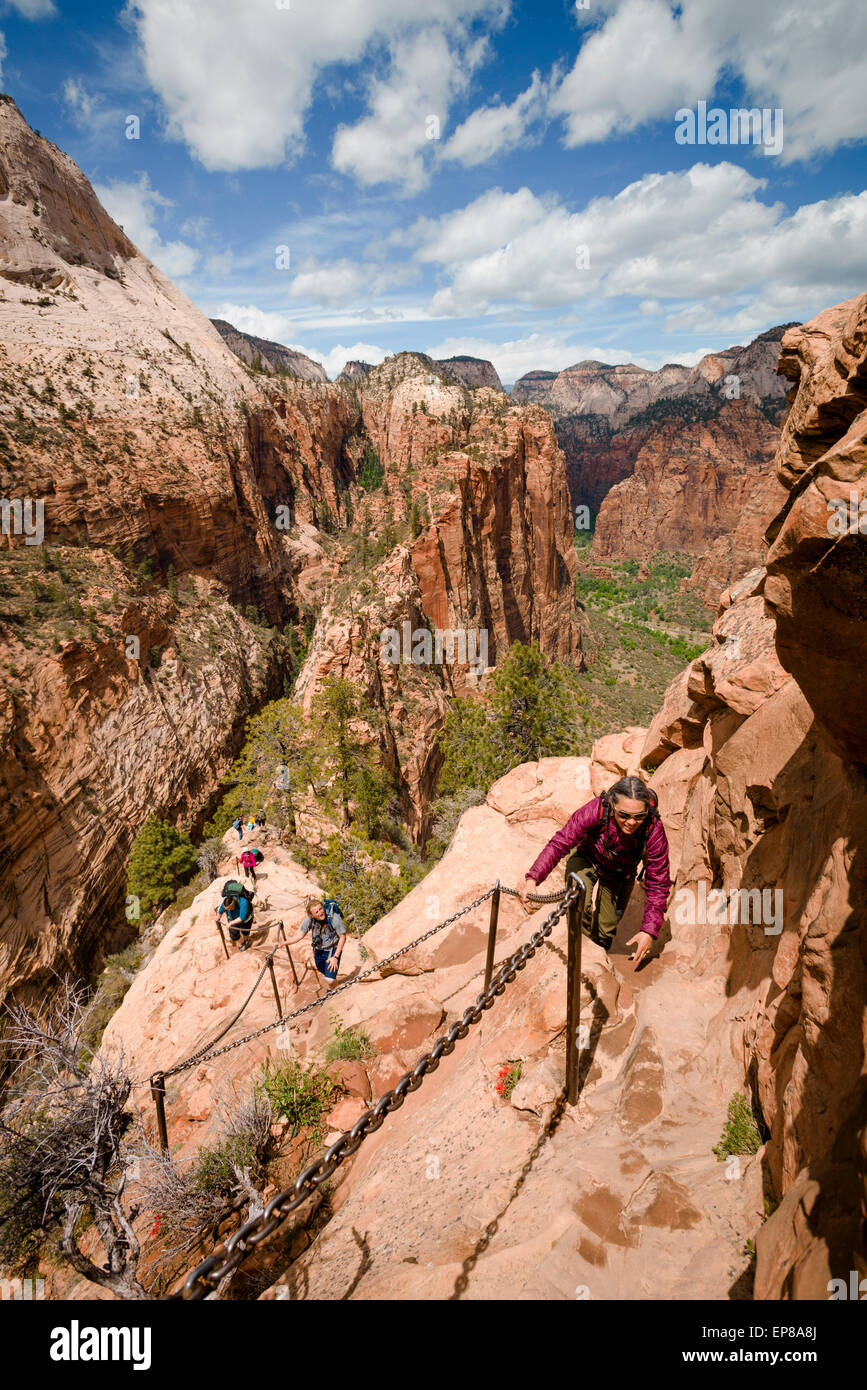 The narrow exposed ridge of the final part of the Angel's Landing hike in Zion National Park in Utah begins. This Stock Photo