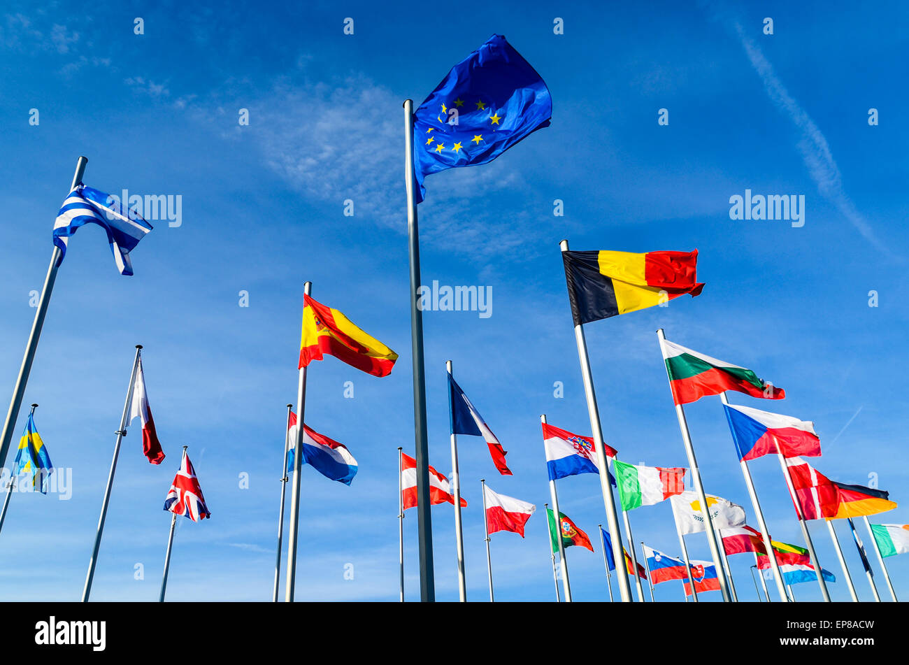 European union flag and flags of the European Union countries at the European Commission, European Quarter, Luxembourg - Stock Image