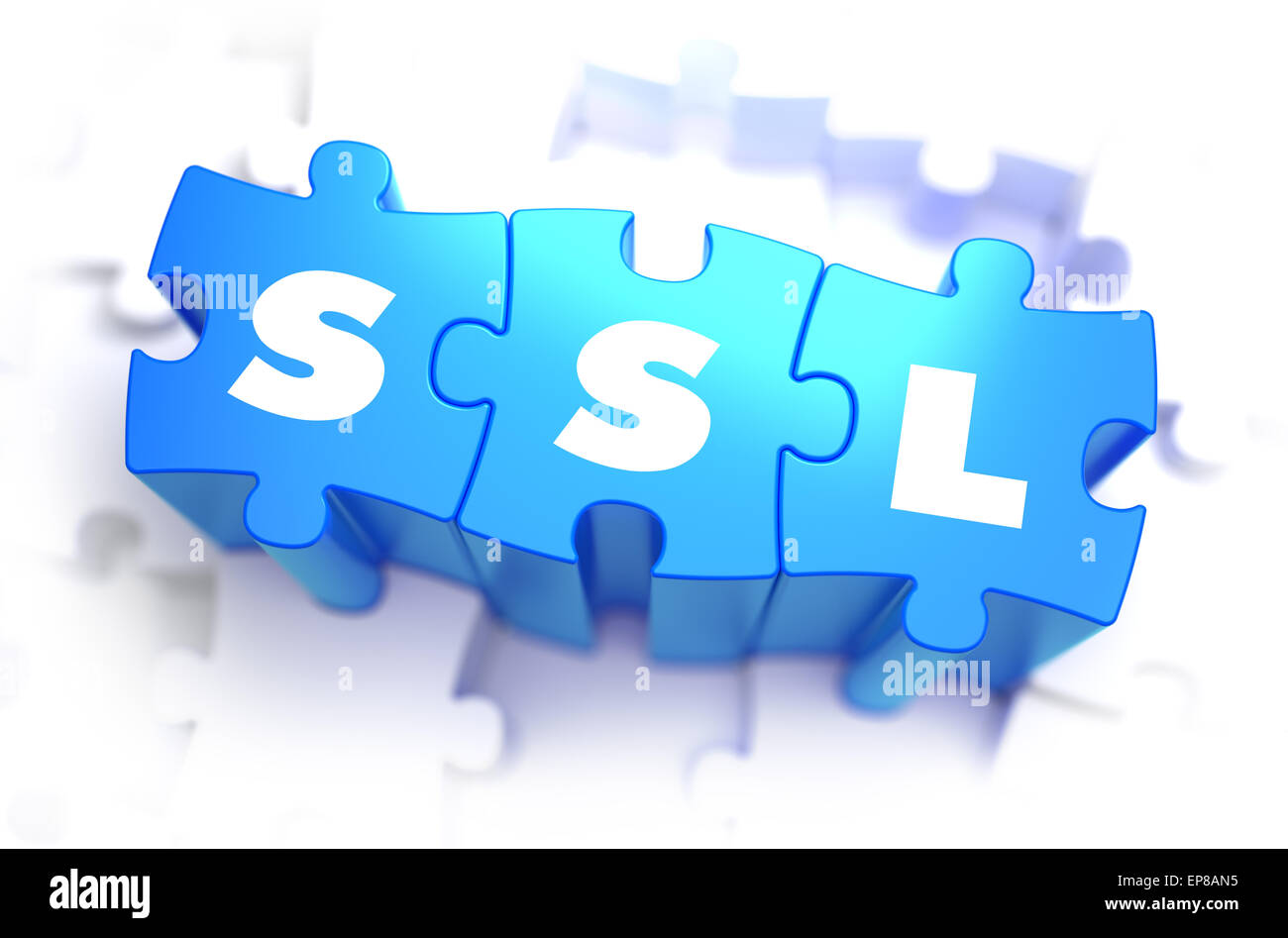 SSL - Secure Sockets Layer - Text on Blue Puzzles on White Background. 3D Render. - Stock Image