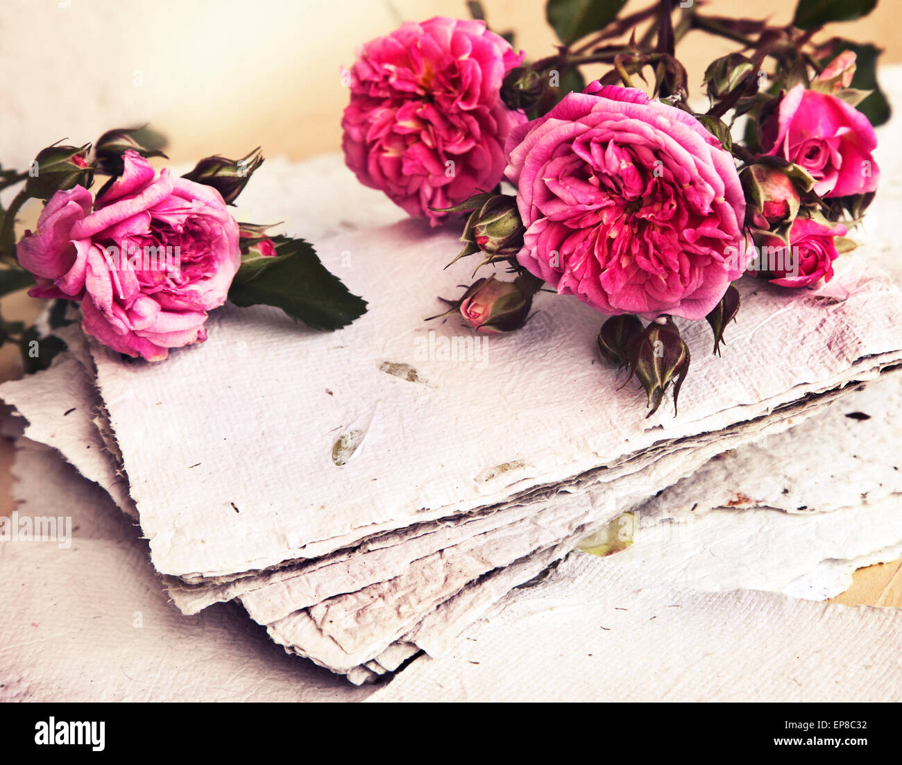 Beautiful Romantic Background With Pink Roses Petals And Handmade