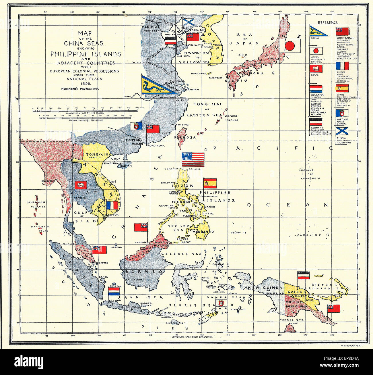 Spanish American War Philippines Map.Map Of The China Seas And Philippine Islands At The Time Of The