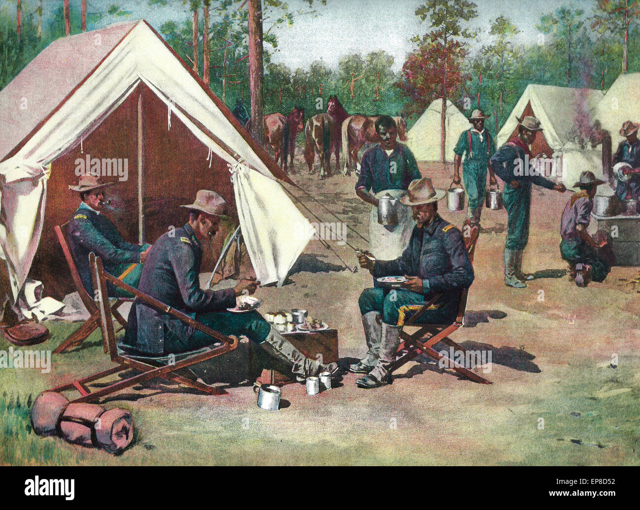 'Pease on a Trencher' - Officer's Mess, 9th US Cavalry, Fort Tampa  Spanish American War - Stock Image