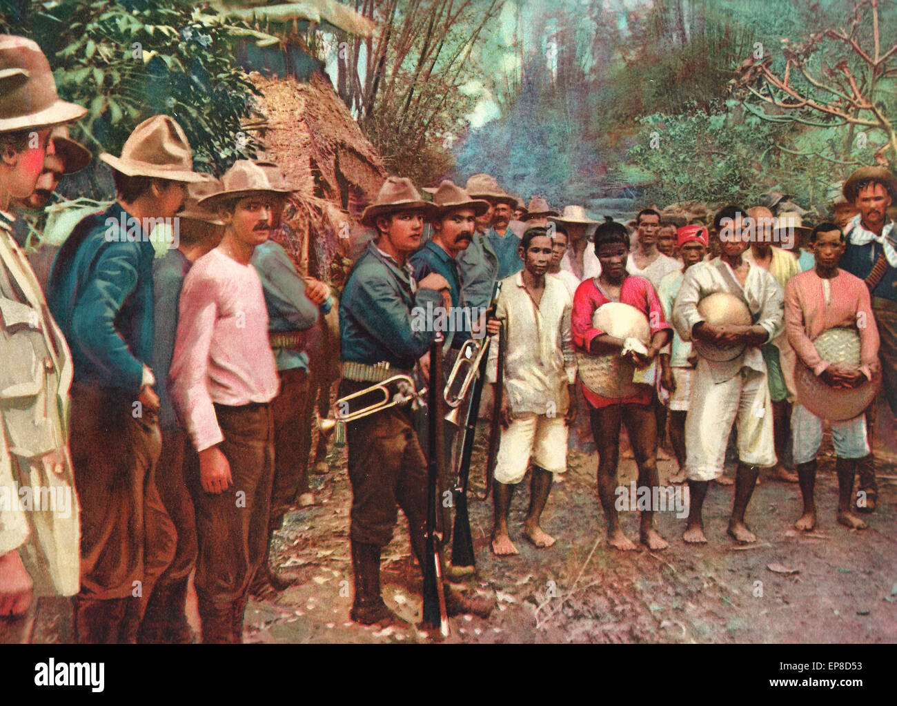 Prisoners captured near Pasig City, March 15, 1899 during the Philippine American War - Stock Image