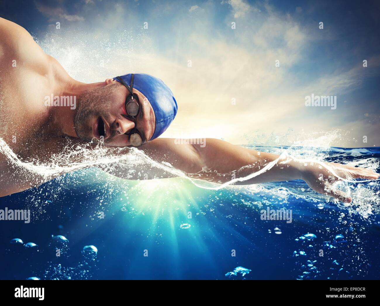 Sunshine swimmer - Stock Image