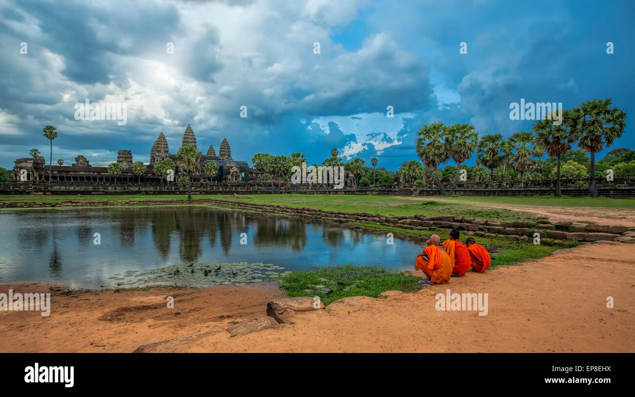 Sunset over Angkor Wat - Stock Image