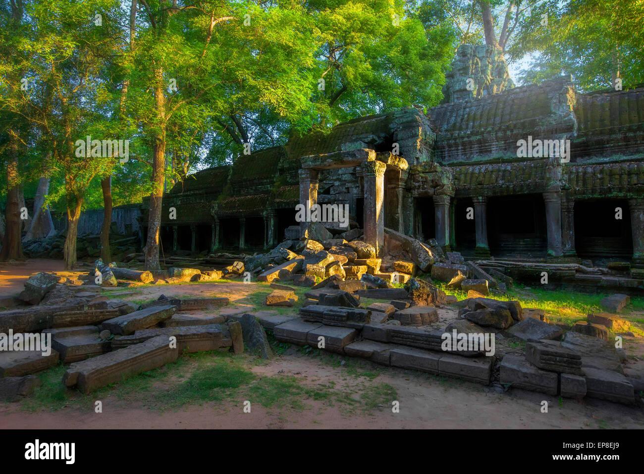 Sunrise over Ta Phrom - Stock Image