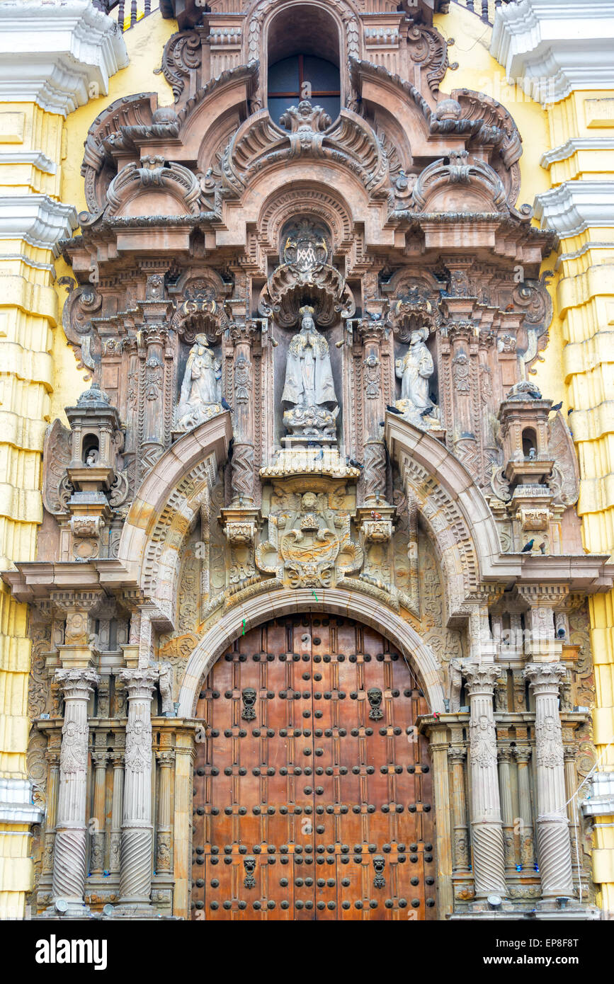 Entrance to the San Francisco Church and Convent in Lima, peru - Stock Image