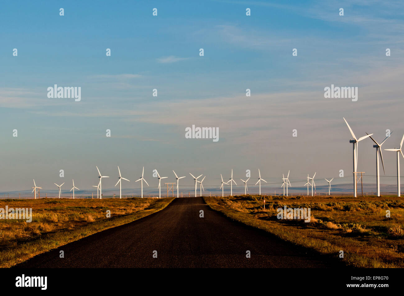 Wind farm (Mountain Home Project, Exelon Generation) in SW Idaho - Stock Image