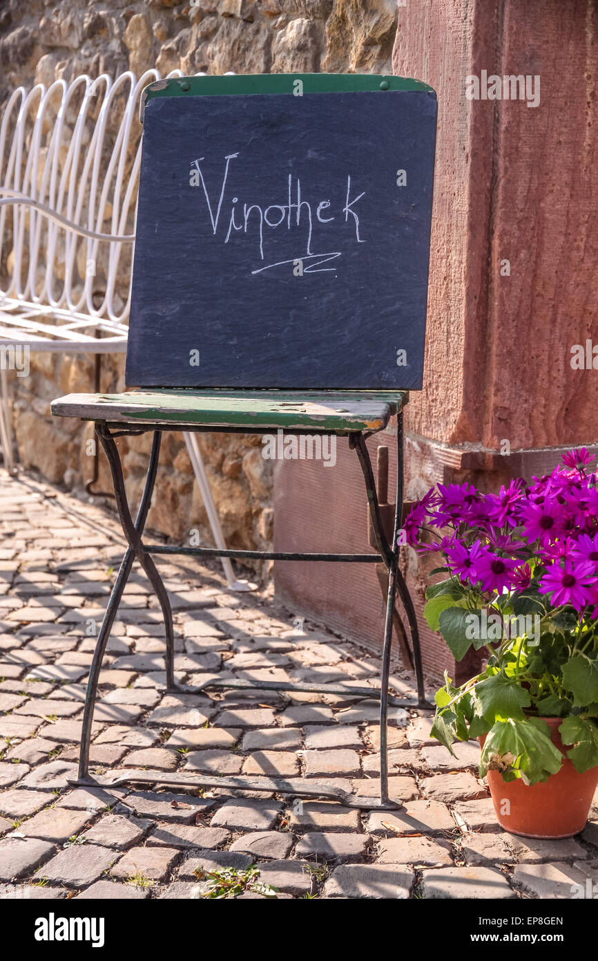 Sign wine bar in the old town of Eltville, Rheingau, Hesse, Germany - Stock Image