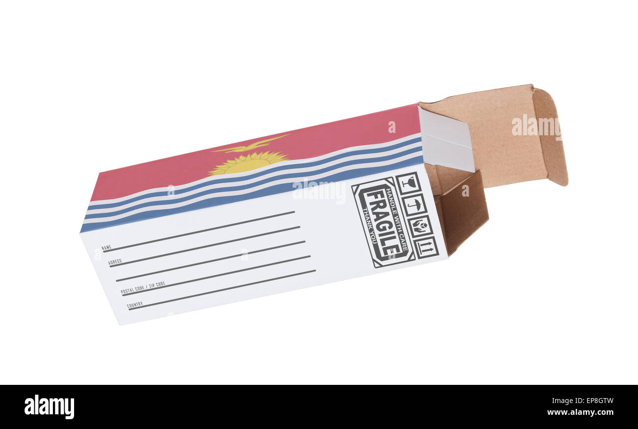 Concept of export, opened paper box - Product of Kiribati - Stock Image