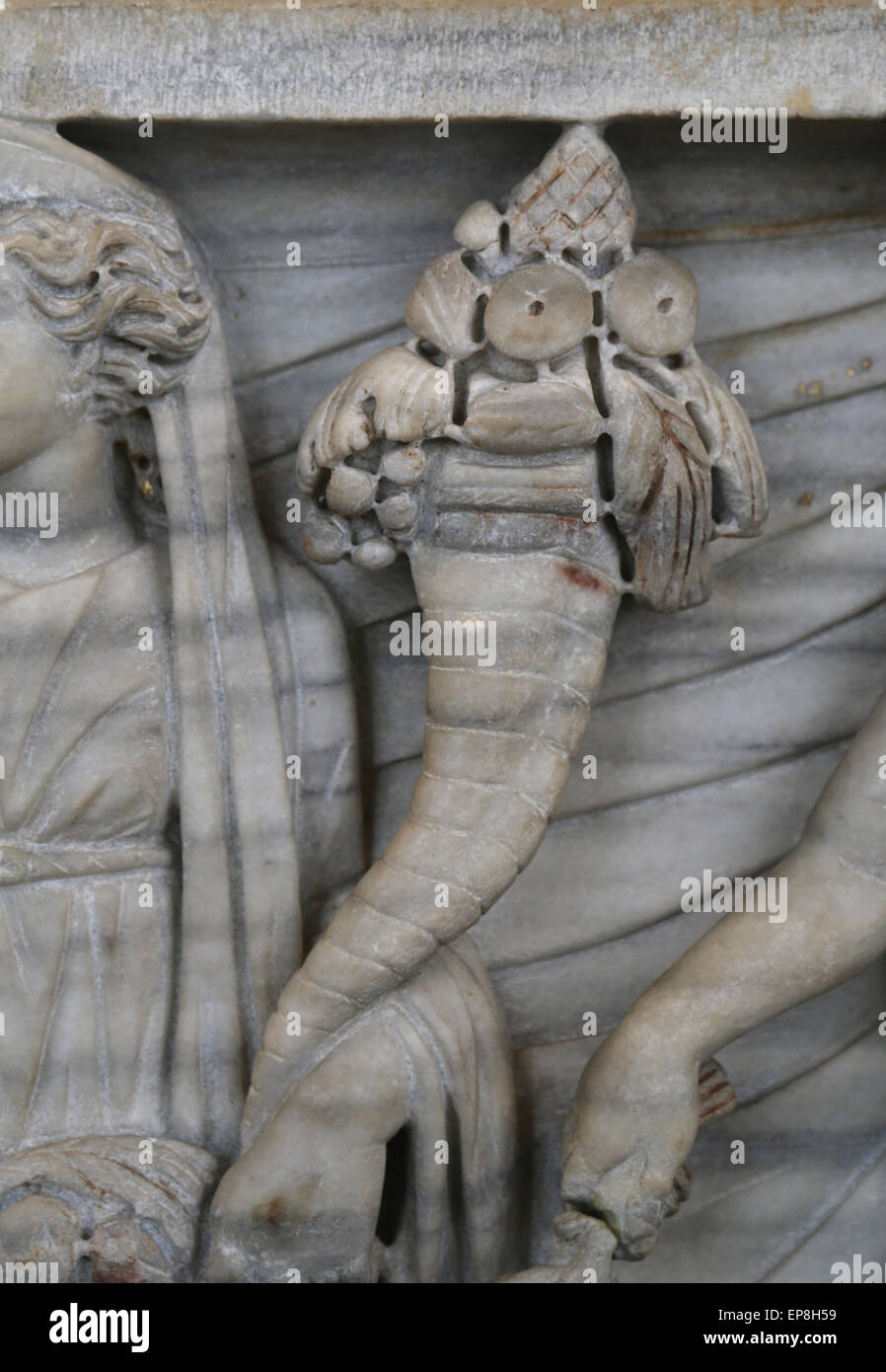Roman sarcophagus. Marriage ceremony. Abundantia. Detail cornucopia or horn of plenty. From Via Latina, 270-80 CE. - Stock Image
