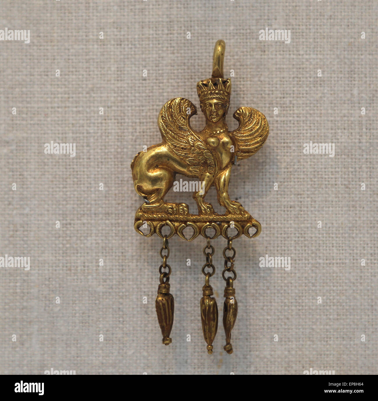 Gold earring with a Sphinx. Greek, 4th-3rd century B.C. Metropolitan Museum of Art. New York. USA. - Stock Image