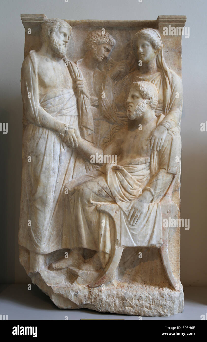 Marble stele (grave marker) of a man. Greek, Attic, ca. 375-350 AC. Metropolitan Museum of Art. Ny. USA. - Stock Image