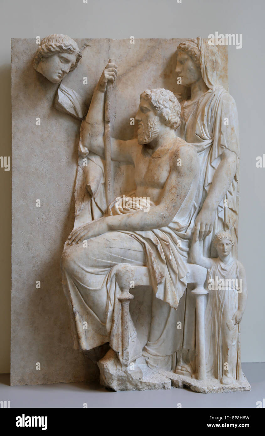 Marble grave stele with a family group. Greek. Attic. ca 360 aC. Metropolitan Museum of Art. NY. USA. - Stock Image