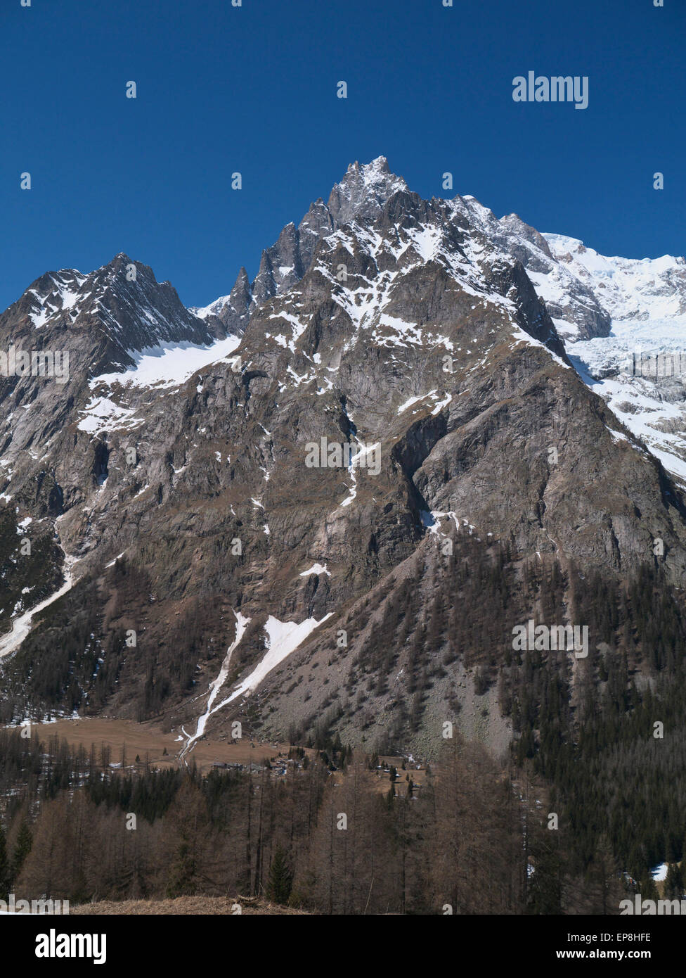 Mont Blanc and Val Veny - Stock Image