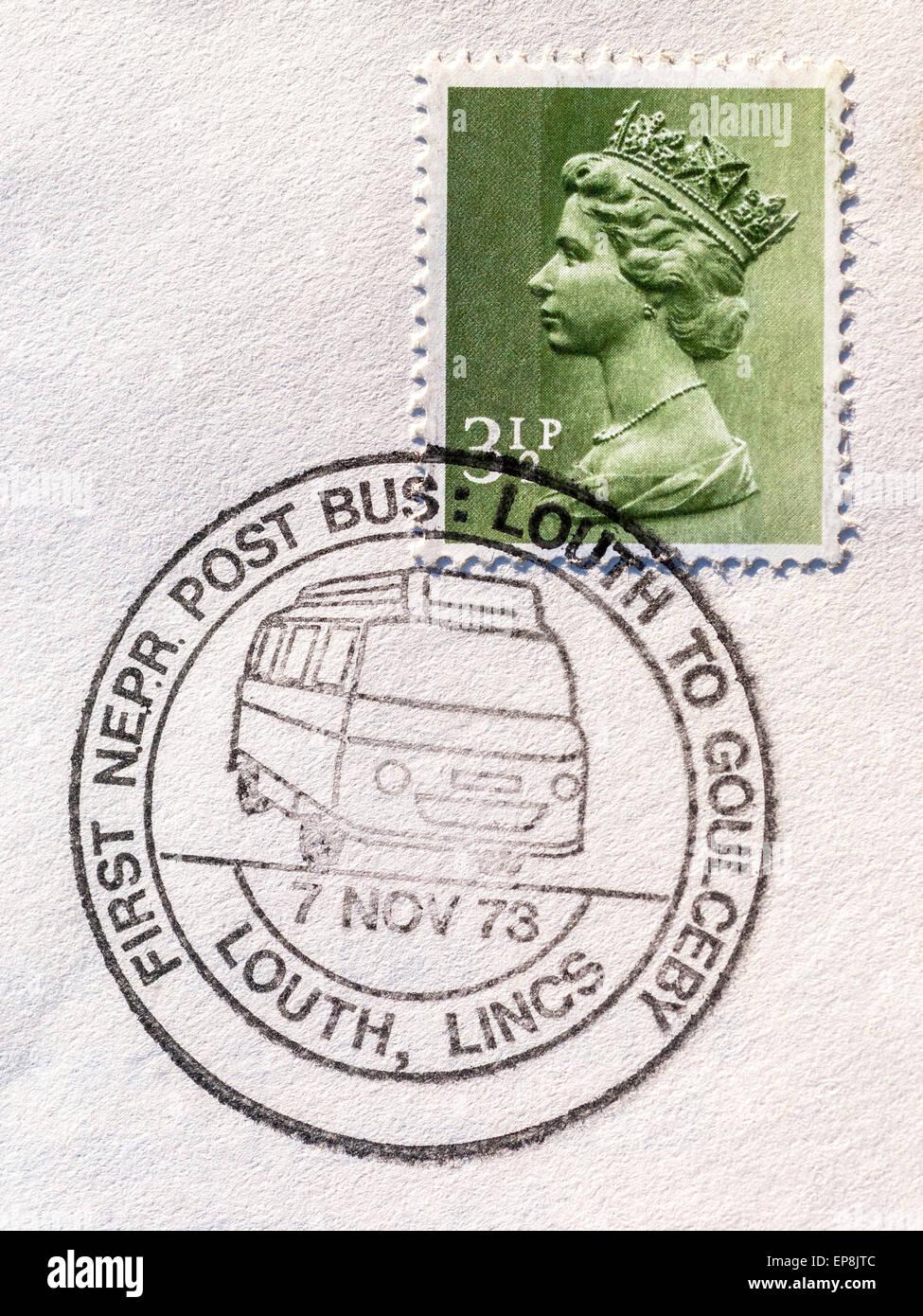 1973 English QE stamp with post bus postmark - England. - Stock Image