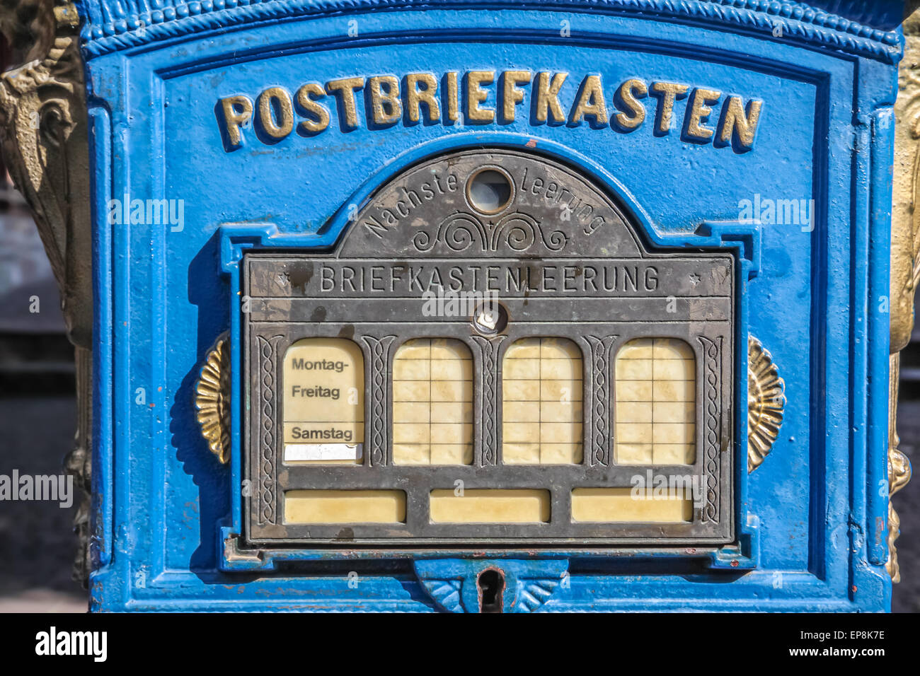 Historical mailbox in the old town of Eltville - Stock Image