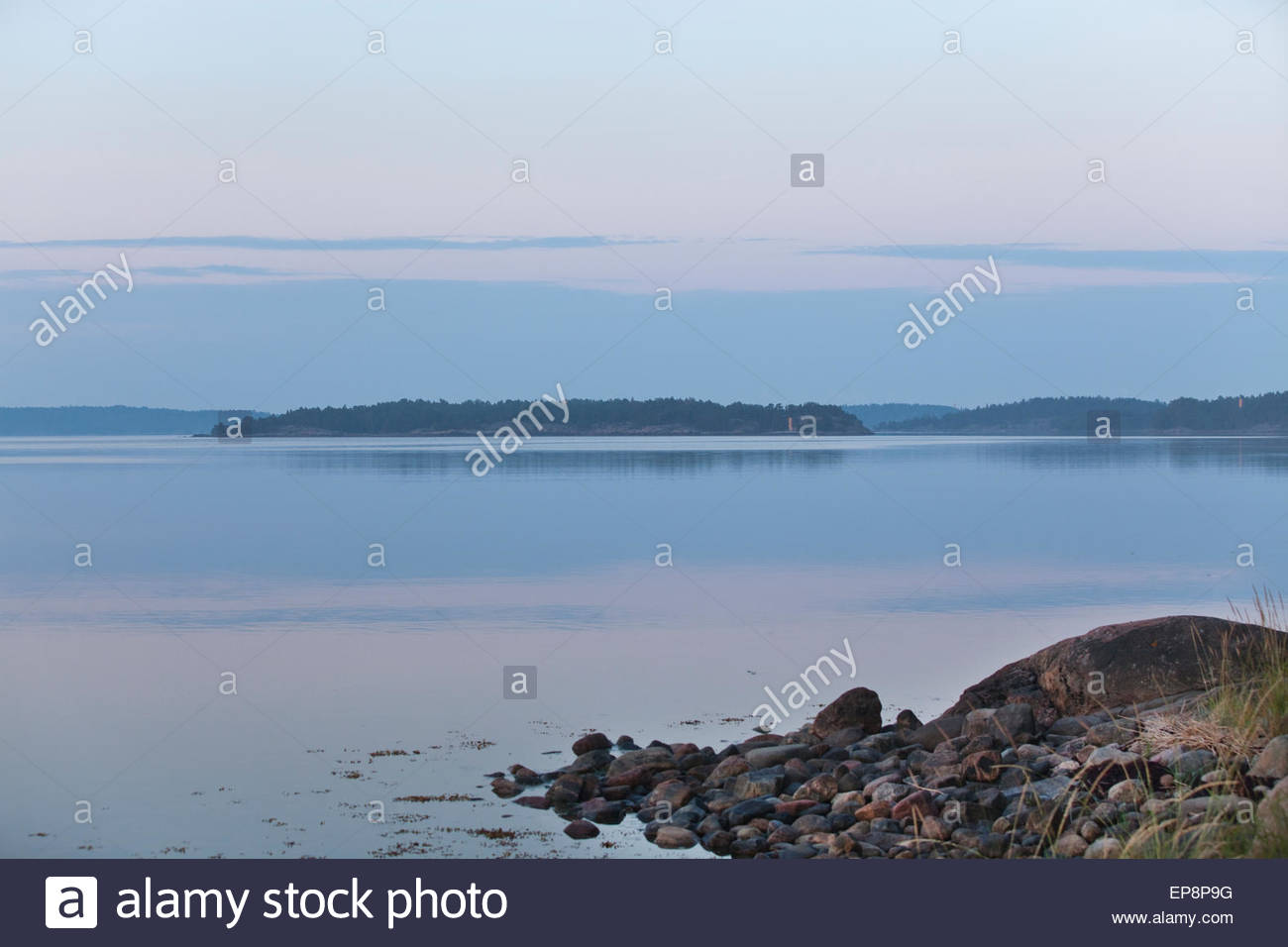 Finnish nature by the sea in summer - Stock Image