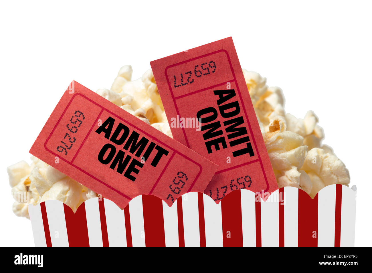 Movie Night With Popcorn And Red Movie Ticket Stubs - Stock Image