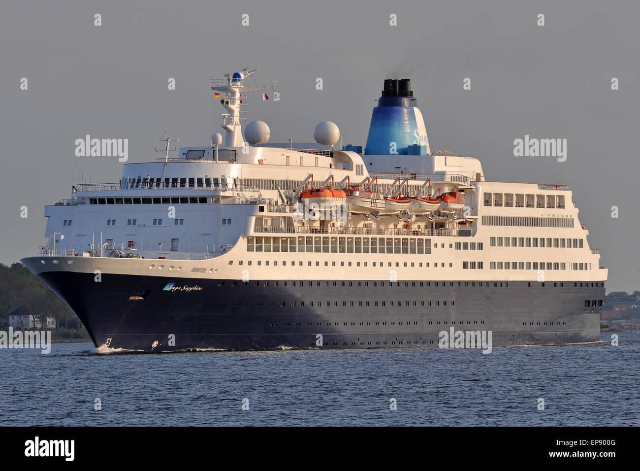 Cruiseship Saga Sapphire outbound Kiel Fjord - Stock Image