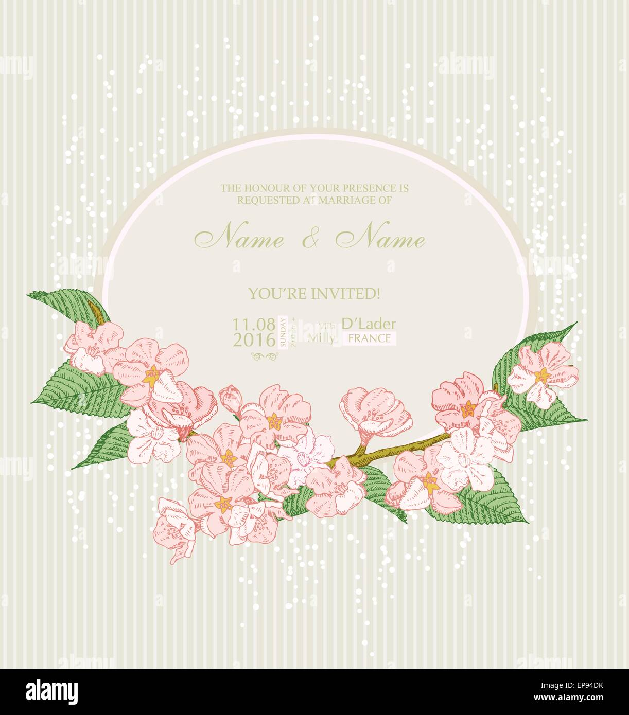 Wedding invitation with flowers. Spring apple blossom. Floral Stock ...