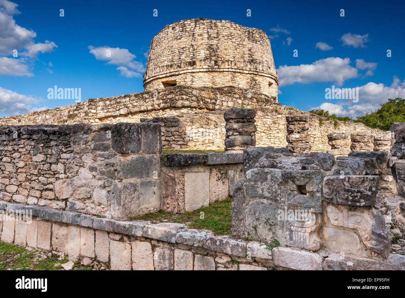 El Templo Redondo (Rounded Temple), Maya ruins at Mayapan archaelogical site, Yucatan state, Mexico - Stock Image
