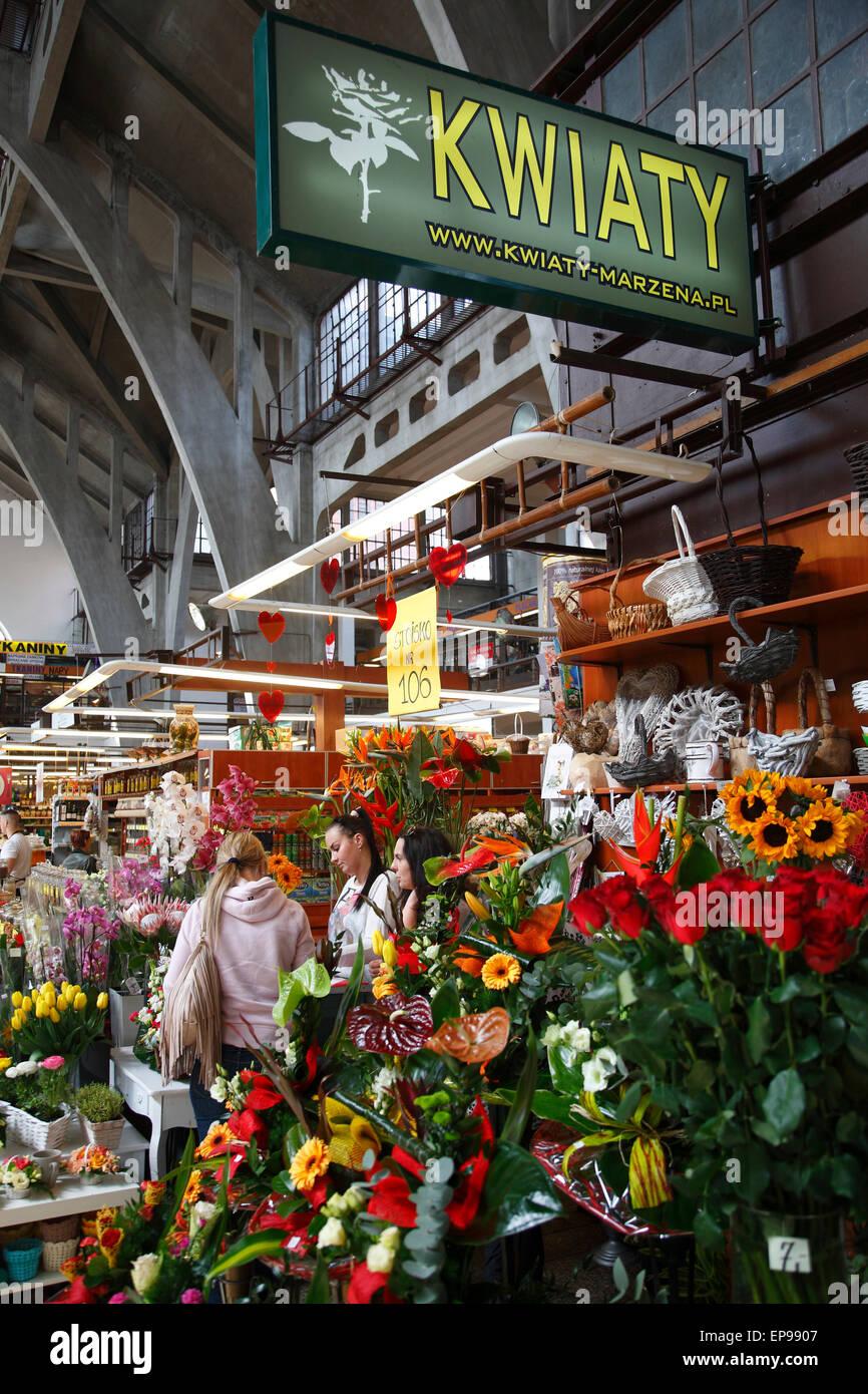 Flower Stall At Market Hall Hala Targowa Wroclaw Silesia Poland Stock Photo Alamy