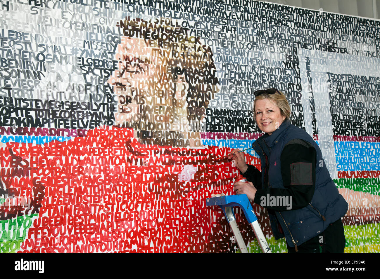A mural of departing Liverpool FC captain Steven Gerrard, Liverpool, Merseyside, UK 15th May, 2015 The Stevie Gerrard - Stock Image