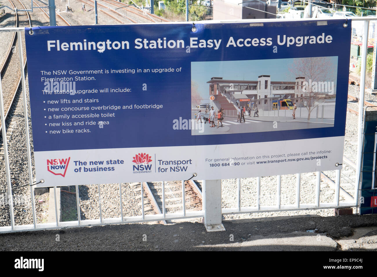 Easy access program of works underway by  new south wales government at Flemington railway station in western sydney,australia - Stock Image