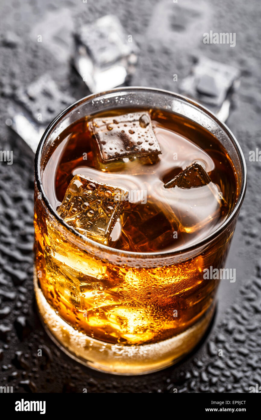 Alcoholic drink with ice in a glass Stock Photo