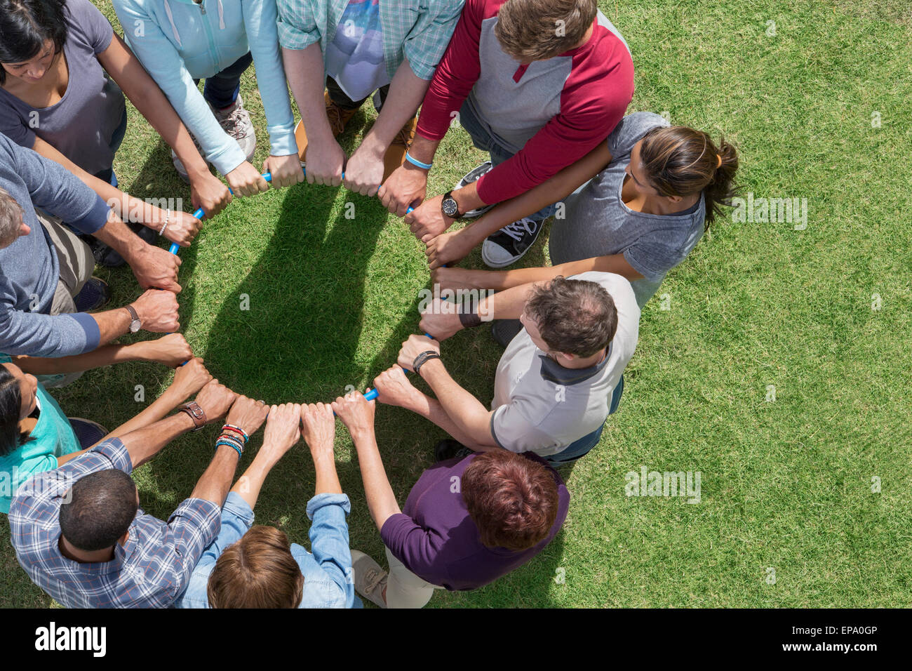 group connected circle plastic hoop - Stock Image