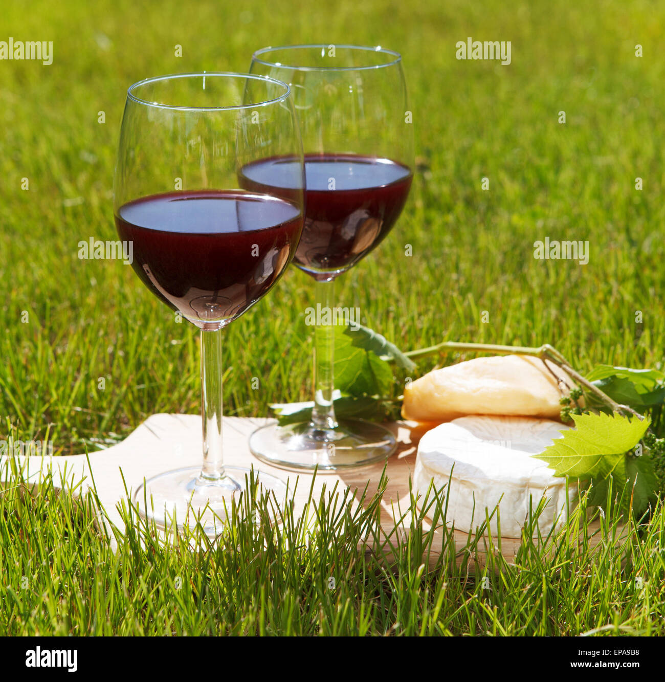 Two glasses of the natural homemade red wine Stock Photo