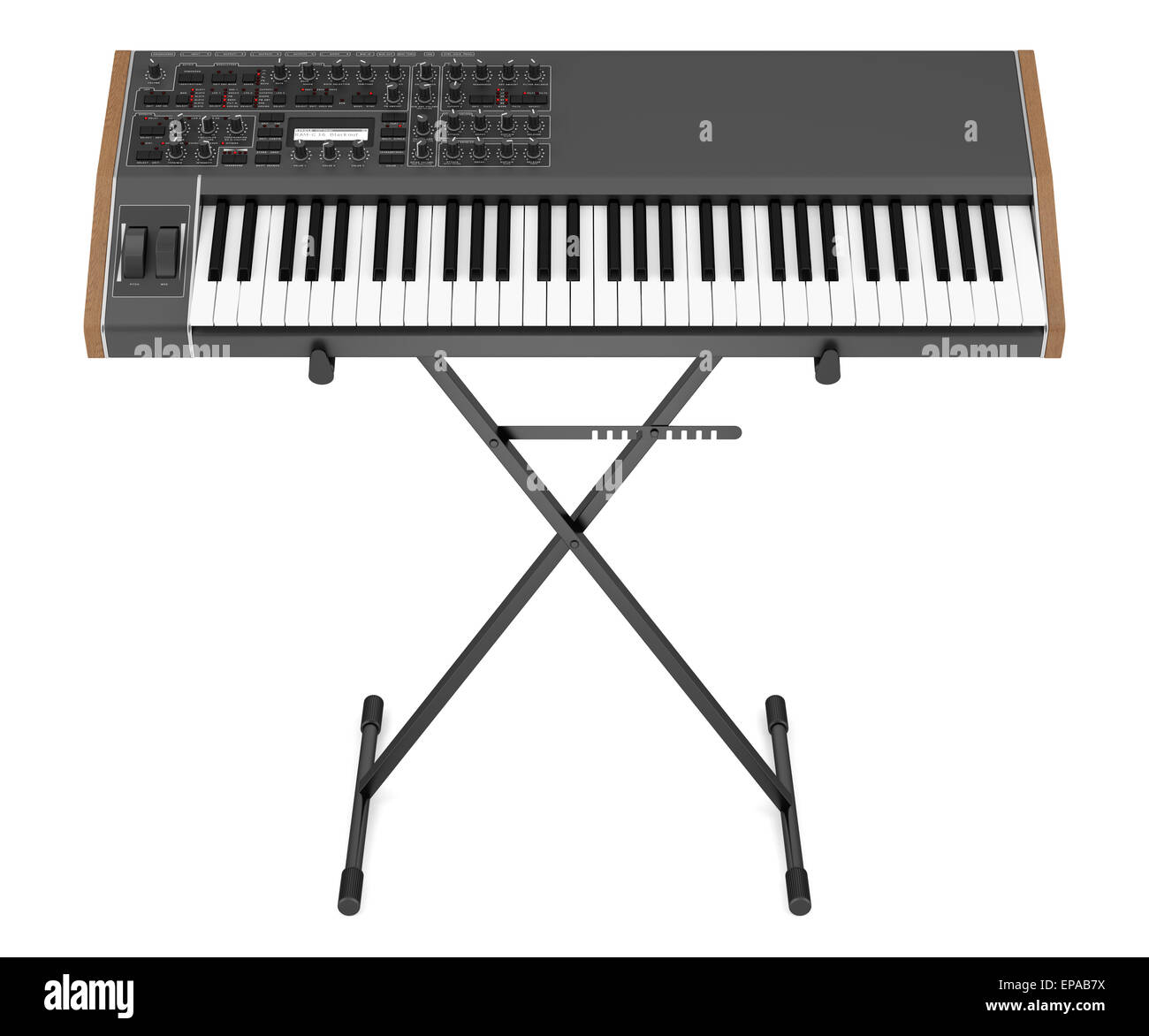 black synthesizer on stand isolated on white - Stock Image