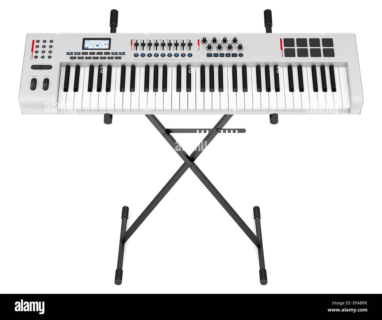 gray synthesizer on stand isolated on white - Stock Image