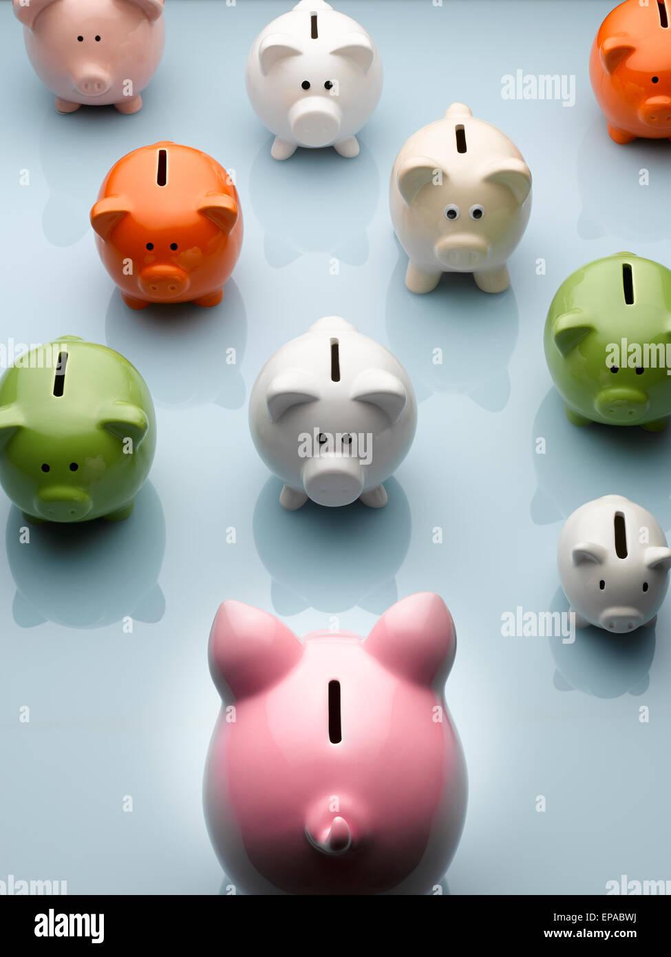 piggy bank multicolor piggy bank still life - Stock Image