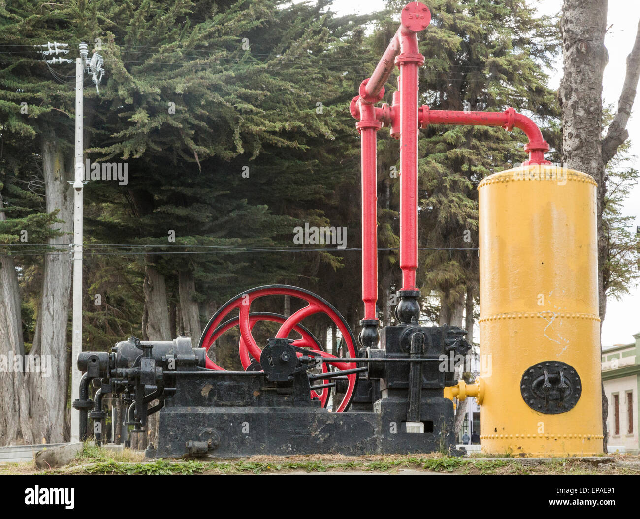 obsolete steam powered pumping machine, Punta Arenas, Chile - Stock Image